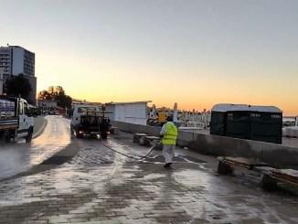 O nouă acțiune de dezinfecție în stațiunea Mamaia. FOTO Primăria Constanța