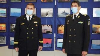 Ovidiu Oprea și Corneliu Pavel, purtătorul de cuvânt al Forțelor Navale. FOTO Paul Alexe