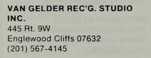 A Return Address Label from a Van Gelder Studio envelope.