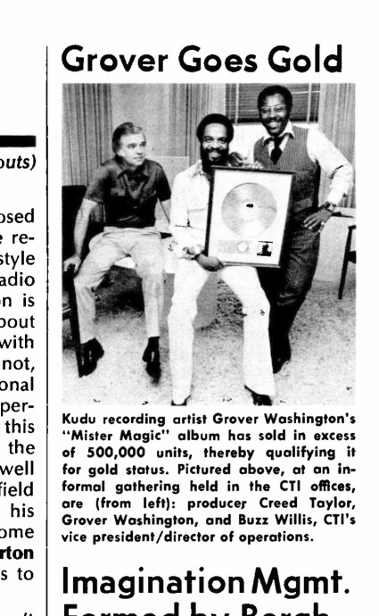 Picture of Grover with Creed Taylor and Buzz Willis of CTI