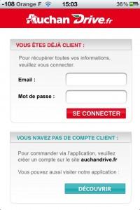 premiere connexion application auchan-drive