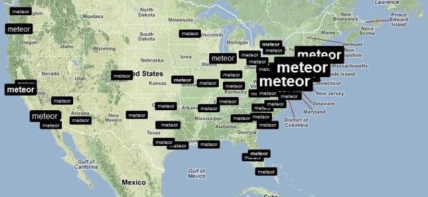 Meteor was trending across the U.S. East Coast