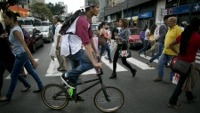A cyclist in Caracas, Venezuela