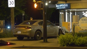 Police say one of their unmarked cruisers crashed into a Vancouver storefront on May 11, 2020.
