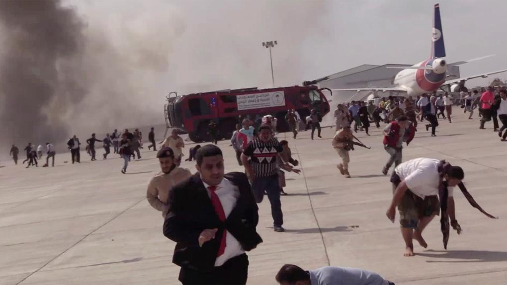 Yemeni officials: Blast at Aden airport kills 25, wounds 110 | CTV News