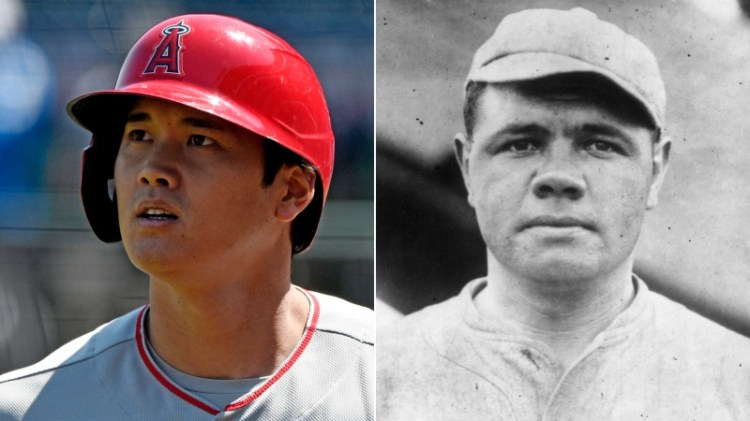 Angels' Shohei Ohtani becomes 1st pitcher since Babe Ruth ...