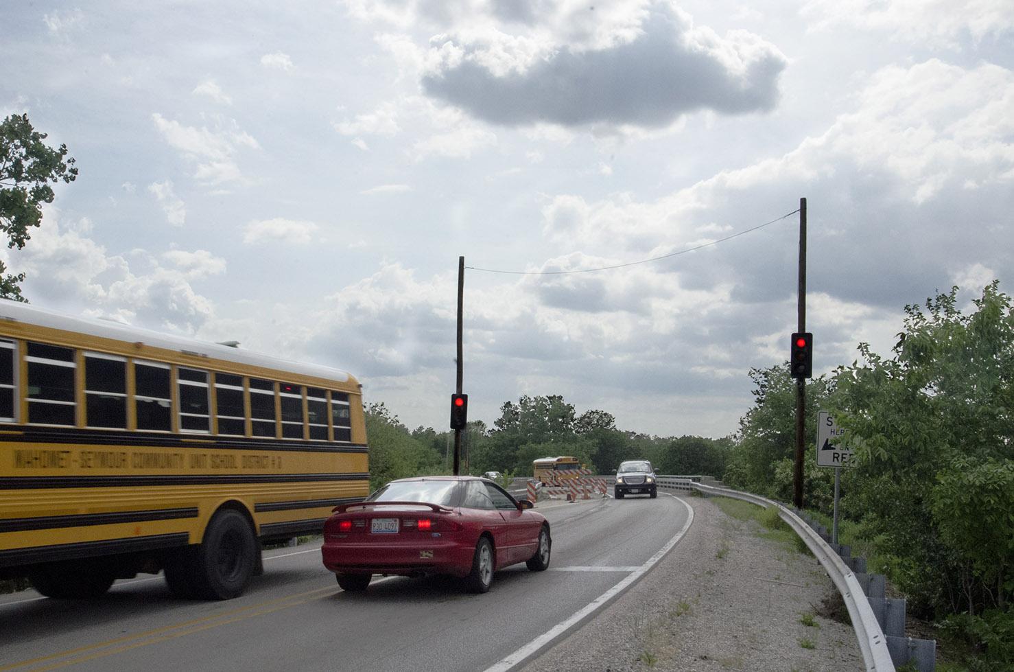 Photo of school bus on bridge