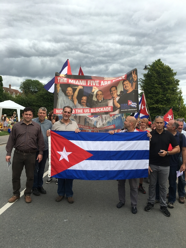 Marching at the head of the Cuban contingent at the Tolpuddle Festival