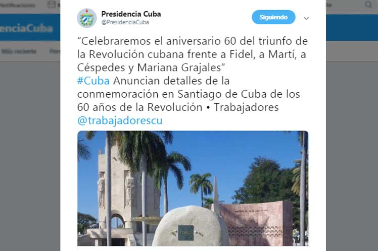 Mensaje de twitter de la Presidencia de Cuba