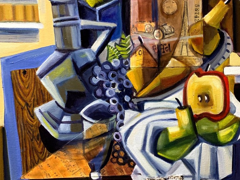 """""""Still Life In My Office"""" 16"""" x 20"""" oil some collage"""