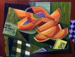 """Papayas""(Lunch In Hilo) oil and collage on plywood 18? x 24?"