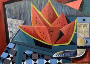 """Watermelon Slices""(Picnic in Dallas) 18? x 24? oil and collage on plywood"