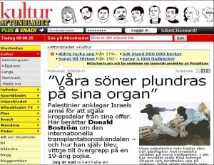 Portada del diario sueco Aftonbladet, que publicó la investigación sobre el asesinato de palestinos para robarles los órganos.