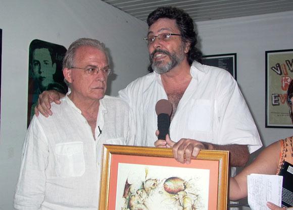 Antón Arrufat y el Ministro de Cultura Abel Prieto. Foto: Marianela Dufflar