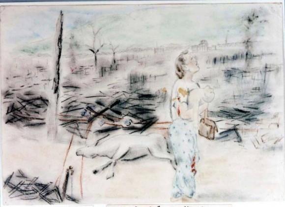 Ichida Juyi-32- Una madre llora mirando al cielo mientras sostiene a su hijo muerto en brazos