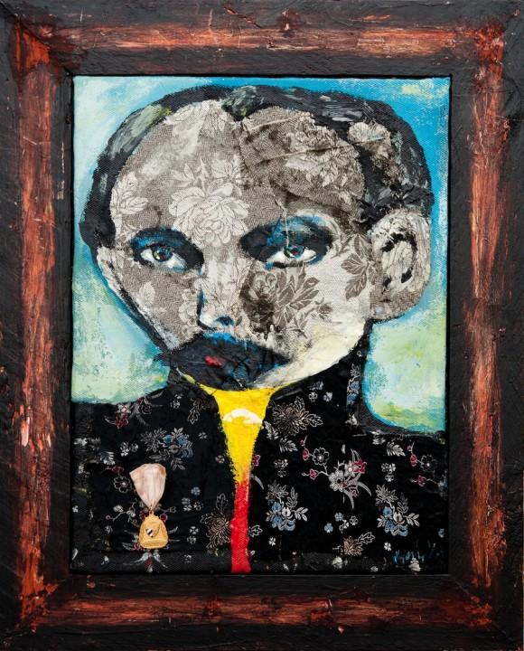 """Kamyl: """"Martí con medalla"""" (técnica mixta 65X52 cm) 2010"""