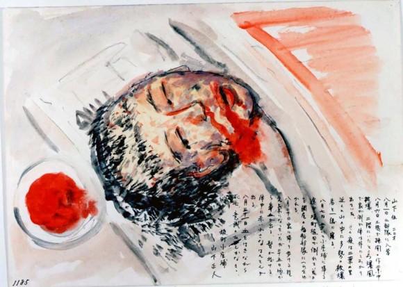 Yamashita Masato-20-El dibujo representa al hermano del autor que murió a los pocos días echando sangre por la nariz y la boca y sin cabello