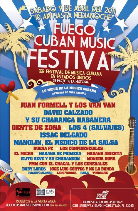 El cartel que promocionaba el Festival Mundial de Música Cubana Fuego