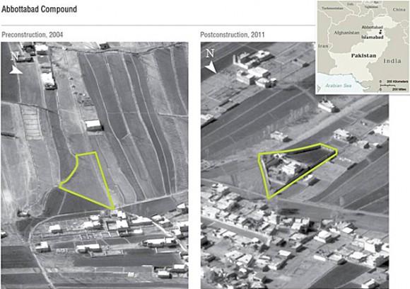 El complejo donde se escondía Osama bin Laden. Foto: Pentágono