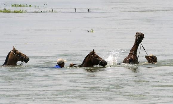 Hombres montan a caballo a través de una zona inundada en San Benito, Colombia, el 20 de mayo. | Foto: Luis Acosta/AFP
