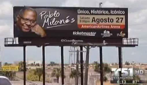 Valla que promueve el concierto en Miami.