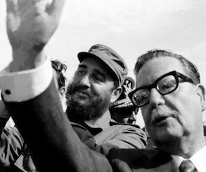 Salvador Allende y Fidel Casto en Chile.