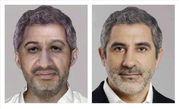El fotomontaje para recrear la cara de Bin Laden y la imagen del cartel electoral de las elecciones del 2004 de Llamazares utilizada por el FBI.