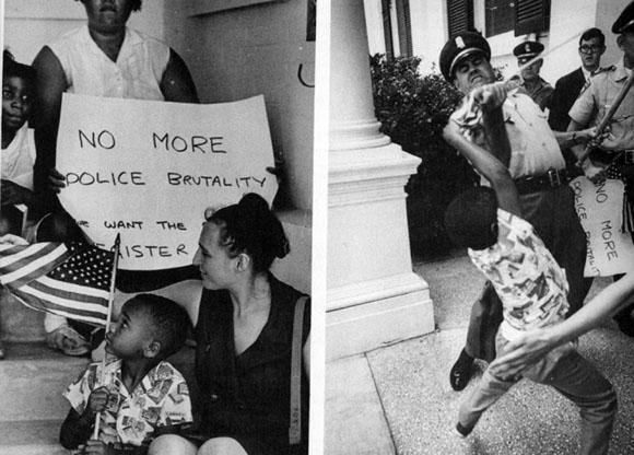 Misisipi 1965. Un niño de 5 años es agredido por un policía mientras protestaba pacíficamente, precisamente, contra la violencia policial. El prestigioso fotógrafo Matt Herron captaría el instante en el que el agente arrebata la bandera estadounidense de las manos del chico. La foto se convirtió rápidamente en un icono en la lucha por los derechos sociales de la época.