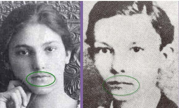 Martí y María Mantilla. Forma general de los labios