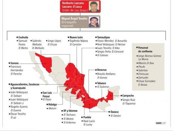 Mapa y organigrama de Los Zetas