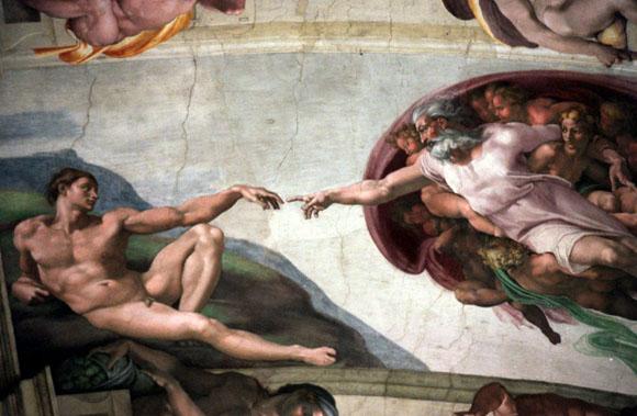 Vista parcial de La Creación, de Miguel Ángel. Foto: AP.