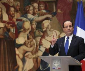 El presidente francés al anunciar la intervención en Mali.