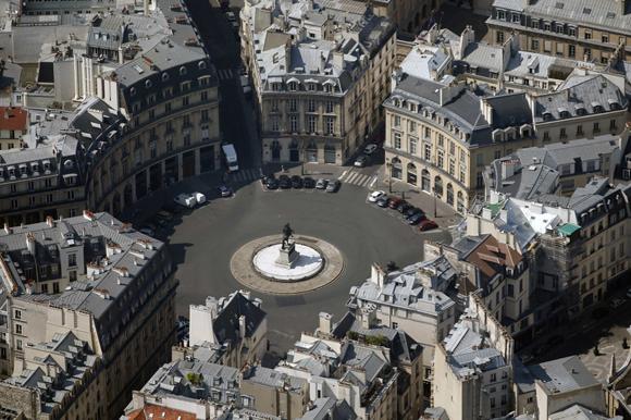 An aerial view shows the Place des Victoires in Paris