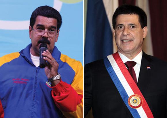 El presidente de Venezuela, Nicolás Maduro, felicitó al mandatario de Paraguay, Horacio Cartes, a cuya investidura no fue invitado, y le expresó su deseo de un pronto retorno de ese país al Mercosur, en una carta a la que la AFP accedió en exclusividad. Este contenido ha sido publicado originalmente por Diario EL COMERCIO en la siguiente dirección: http://www.elcomercio.com/mundo/HoracioCartes-Paraguay-Mercosur-Maduro-Venezuela_0_974902673.html. Si está pensando en hacer uso del mismo, por favor, cite la fuente y haga un enlace hacia la nota original de donde usted ha tomado este contenido. ElComercio.com