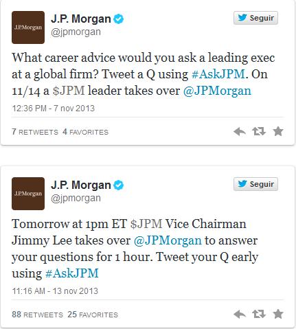 Tuits de convocatoria de JPMorgan
