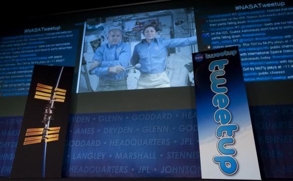 El 'tweetup' de la NASA durante el cual se envió el primer tuit desde el espacio (Foto: NASA HQ PHOTO en Flickr)