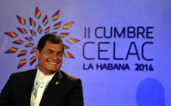 Rafael Correa en la Sala de Prensa, en vivo por Telesur. Foto: Ladyrene Pérez/ Cubadebate.