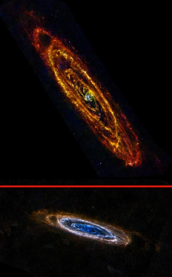 A Galáxia de Andrômeda é nossa vizinha maior e mais próximo.  Embora geralmente fotografado em comprimentos de onda visíveis, a galáxia adquire recursos totalmente novos nos olhos infravermelhos Herschel Space Telescope da ESA