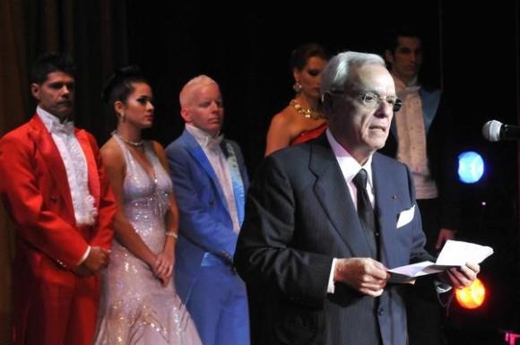 El Dr. Eusebio Leal Spengler, historiador de La Habana, pronuncia las palabras centrales durante la reapertura  del Teatro Martí, en La Habana, Cuba, el 24 de febrero de 2014.  AIN FOTO/Roberto MOREJÓN RODRÍGUEZ/