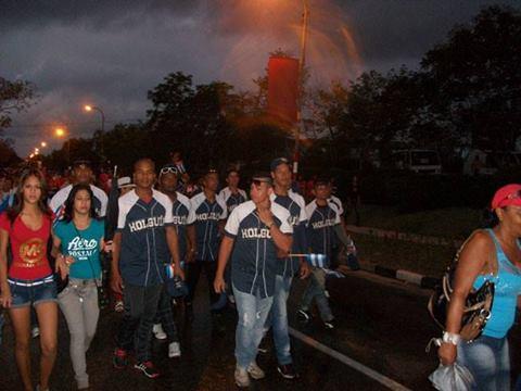 El equipo de béisbol de Holguín estuvo presente en el desfile en el territorio oriental. Foto: Luis Ernesto Ruiz Martínez/Publicada en Facebook