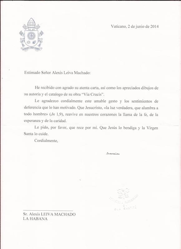 2014.06.2 carta del Papa Francisco a Kcho. Vaticano