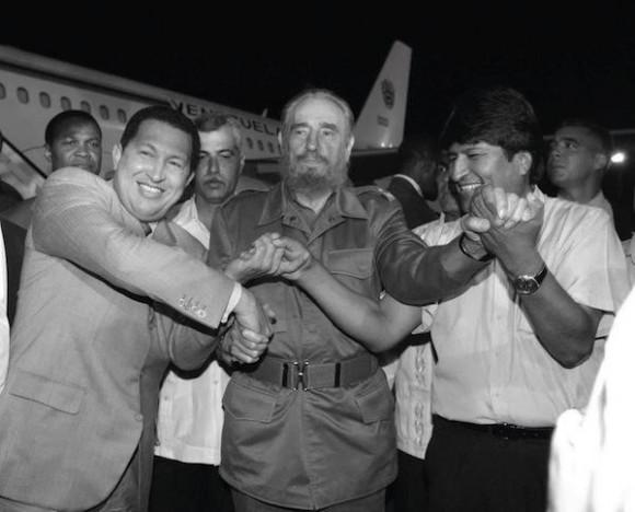 Fidel, Evo y Chávez. Foto de Archivo