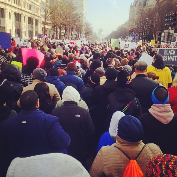Protesters march towards the U.S Capitol building on Saturday Dec. 13, 2014 in Washington, DC.