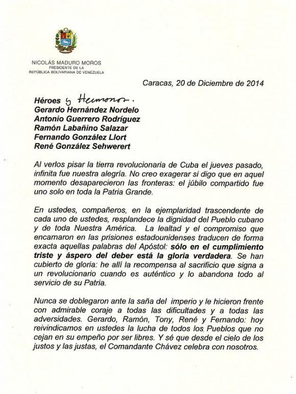 carta Maduro a los 5Héroes pag 1