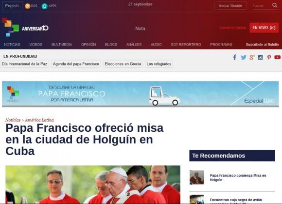 Página web de Telesur.