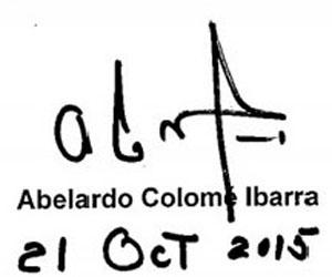 Firma de Abelardo Colomé Ibarra
