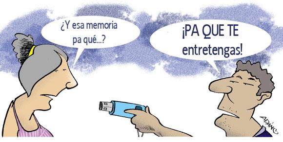 El paquete semanal ha tenido un gran impacto en las maneras de consumir audiovisuales en Cuba. Caricatura. Adán