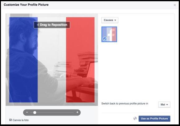 foto de perfil de facebook con filtro de bandera francesa