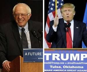 """Bernie Sanders, el """"socialista democrático"""" que aspira a contender por la Casa Blanca abanderado por el Partido Demócrata, y el magnate Donald Trump, favorito en las encuestas para ganar la candidatura presidencial por el Partido Republicano. Foto: AP y AFP."""