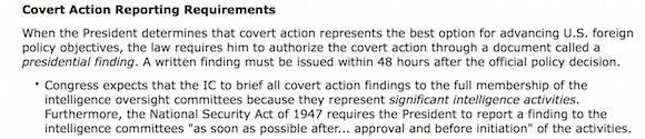 """La Ley de Autorización de Inteligencia de 1991 modificó la Ley de Seguridad Nacional para exigir que el Presidente firme un """"finding""""."""